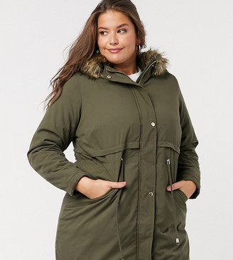 New Look Plus New Look Curve long-line parka jacket in khaki