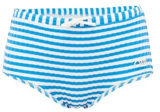 Solid & Striped The Ginger Striped High-rise Bikini Briefs - Womens - Blue White