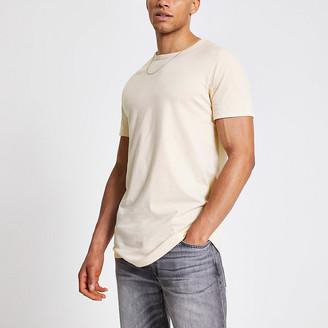 River Island Ecru longline slim fit T-shirt
