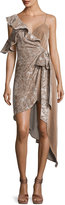 Self-Portrait Velvet Devore Asymmetric Wrap Dress