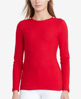 Lauren Ralph Lauren Button-Shoulder Long-Sleeve Shirt
