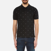Kenzo Embroidered Letters Pique Polo Shirt Black