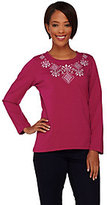 Denim & Co. As Is Jersey Long Sleeve Top with Embroidery