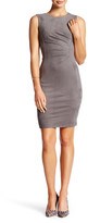 London Times Pleated Faux Suede Sheath Dress (Petite)