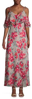 Calvin Klein Floral Cold-Shoulder Maxi Dress