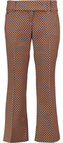 Michael Kors Cropped Printed Virgin Wool And Silk-Blend Bootcut Pants