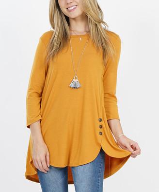 Ash Lydiane Women's Blouses  Mustard Three-Quarter Sleeve Metal Button-Accent Tulip-Hem Tunic - Women