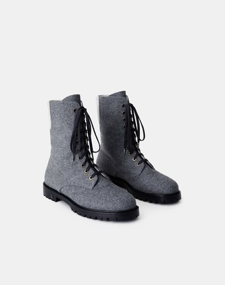 Lafayette 148 New York Cashmere-Wool Finley Combat Boot