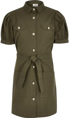 River Island Girls Khaki puff sleeve shirt dress