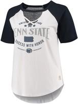 Unbranded Women's Pressbox White/Navy Penn State Nittany Lions Plus Size Abbie Criss-Cross Raglan Choker T-Shirt