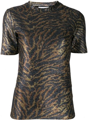 Ganni Tiger-Print Knitted Top