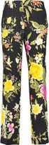 Etro Cropped printed floral-jacquard straight-leg pants