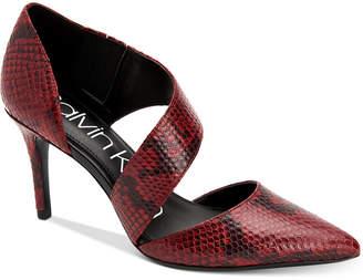 Calvin Klein Gella Snake-Print Asymmetrical Dress Pumps Women Shoes