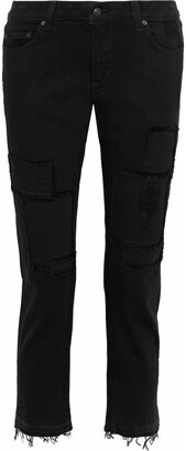Derek Lam 10 Crosby Mila Cropped Distressed Mid-rise Straight-leg Jeans