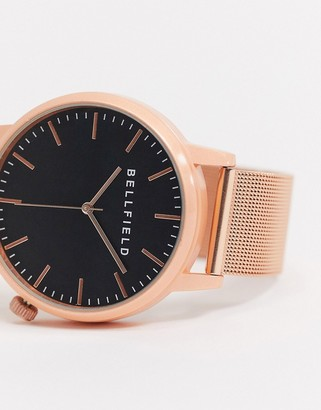 Bellfield rose gold watch with black dial