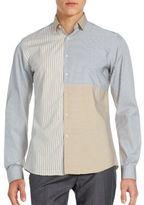 Salvatore Ferragamo Split Striped Cotton Shirt