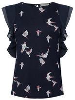 Oasis Bird print lace trim tee