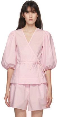 Ganni Pink Puff Sleeve Blouse