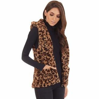 LOPILY Ladies Teddy Fresh Hoodie Leopard Sleeveless Gilet Furry Cardigan Black Teddy Jacket Fluffy Outwear Coat Fur Hooded Coat Teddy Bear CoatBrown12 UK/L CN