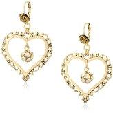 "Betsey Johnson Throwback Betsey"" Crystal Fireball Heart Orbital Drop Earrings"