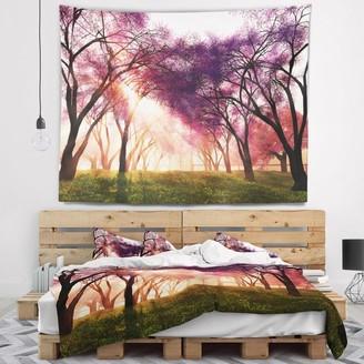 Design Art Designart 'Cherry Blossoms Japan Garden' Landscape Wall Tapestry
