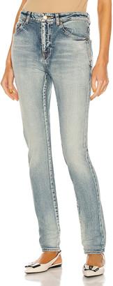 Saint Laurent Medium Waist Skinny Jean in Bright Blue | FWRD