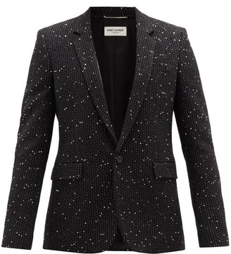 Saint Laurent Single-breasted Sequinned-boucle Blazer - Black Silver