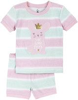 Petit Lem Bunny Striped Top & Shorts Pajama Set, Pink, Size 2-4T