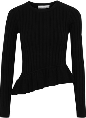 Robert Rodriguez Asymmetric Ruffle-trimmed Ribbed-knit Top