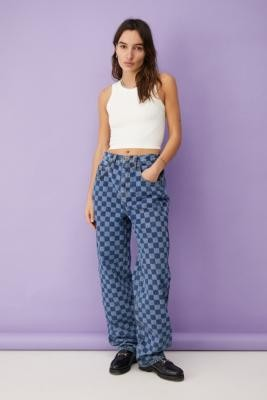 BDG Two-Tone Checkerboard High-Waisted Baggy Boyfriend Jeans - Blue 24 at Urban Outfitters