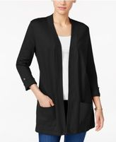 Karen Scott Petite Three-Quarter-Sleeve Cardigan, Only at Macy's
