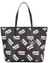 Armani Jeans logo print shopping bag - women - Polyurethane - One Size