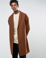 Asos Wool Mix Overcoat with Drop Shoulder In Dark Rust