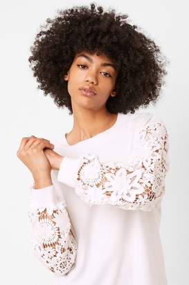 French Connection Tafari Lace Sleeve Top