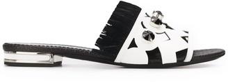 Casadei Geometric Print-Panel Sandals