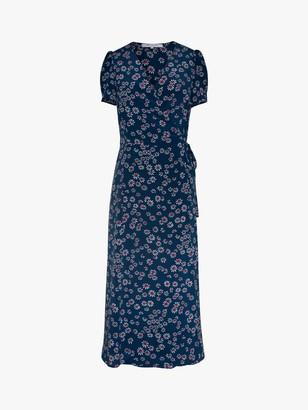 Gerard Darel Sara Floral Print Wrap Dress, Blue