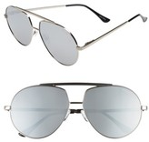Quay Men's Blaze 68Mm Aviator Sunglasses - Silver/ Silver
