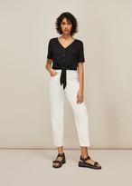 Linen Button Tie Front Top