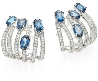 Hueb Rainbow Diamond, London Blue Topaz & 18K White Gold Ear Cuffs