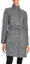 Vince Camuto Wool Blend Zip Front Belted Coat