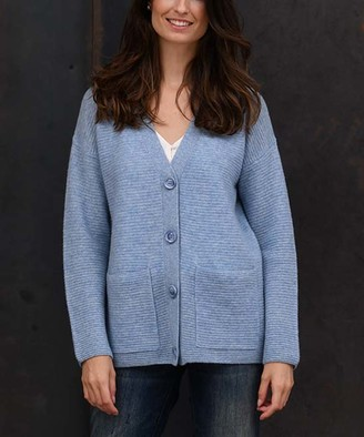 Colour Works by In Cashmere Women's Cardigans Chambray - Chambray Ribbed Pocket Cashmere Button-Up Cardigan - Women