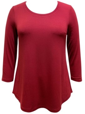 JM Collection Plus Size 3/4-Sleeve Solid Curved-Hem Top, Created for Macy's