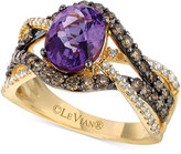 LeVian Le Vian® Ocean Wave Amethyst (1-3/8 ct. t.w.) and Diamond (1 ct. t.w.) Statement Ring in 14k Gold