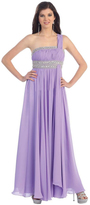 May Queen - One Shoulder Strap Bejeweled Ruched Straight Neck Chiffon A-line Dress MQ748