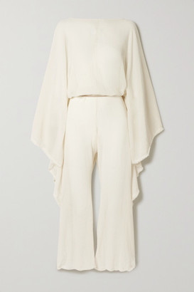CARAVANA Net Sustain Open-back Leather-trimmed Cotton-gauze Jumpsuit