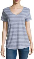 A.N.A Striped Boyfriend Tee Short Sleeve V Neck Stripe T-Shirt-Womens