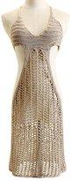 Janeyer® Janeyer Women's Sexy See Through Crochet Halter Cover Ups Dress Beach Swimwear