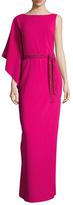 St. John Asymmetrical Sleeve Maxi Dress