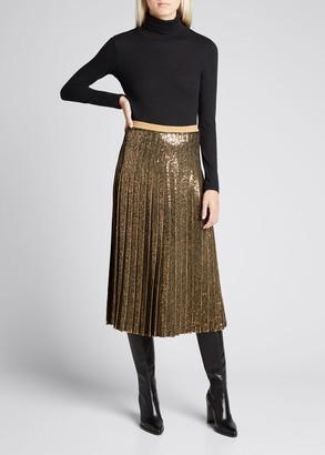 Michael Kors Collection Pleated Sequin Midi Skirt
