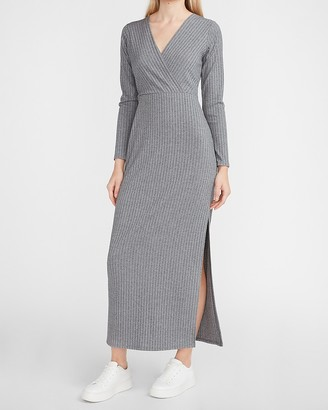 Express Ribbed Wrap Front Long Sleeve Maxi Dress